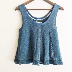 Anthro Meadow Rue Carrigan knit tank blue green XS